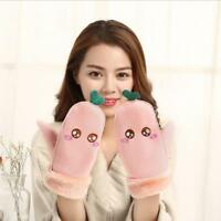 Kids Winter Warm Gloves Double Layer Knitted Gloves Plush Hanging Gloves LI