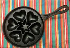 Cast Iron HEARTS & STAR Handle Gem Muffin Pan EBELSKIVER Tart Pan Poffertjes