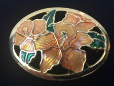Orange Lily Flower Enamel Painted Brooch Pin Gold Tone Oval