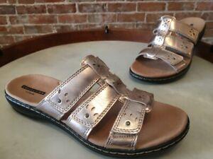Clarks Rose Gold Leather Leisa Spring Triple Strap Slide Sandal New