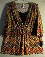 NY Collection XL 2 Piece Look Blouse New With Tags  CLASSY DESIGN & PRINT!  [67]