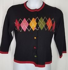 Jack B Quick Sweater size PM black cardigan colorful beaded petite M