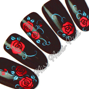 Red Roses Nail Decals, Water Decals, Nail Stickers Flowers Blue Tendrils Y043