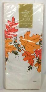 "Vtg 60"" x 102"" Hallmark Thanksgiving Paper Table Cover Fall Leaves Acorns Autumn"