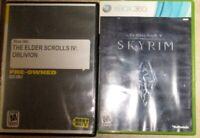 Lot 2 XBox 360 Elder IV V Oblivion Skyrim Video Games