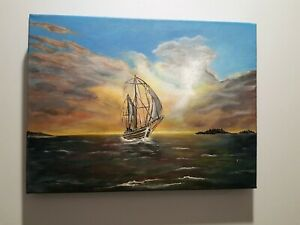 Sailing in before the Storm - On canvas ready to hang, 40.5 x 30cm Free postage