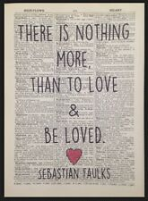 Love Quote Print Vintage Dictionary Page Wall Art Sebastian Faulks Heart Picture