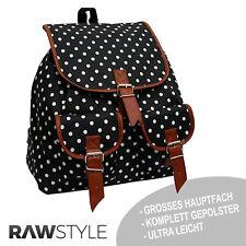 Trendiger, sehr geräumiger Rucksack VINTAGE Schulranzen Schultasche Punkte Weiß