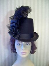 Black Top Hat Steampunk Hat Civil War Halloween Hat Dickens Hat  Victorian Tea