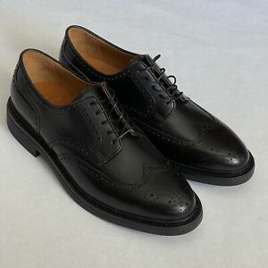 $195 New POLO Ralph Lauren ASHER Black Leather Wingtip Shoes