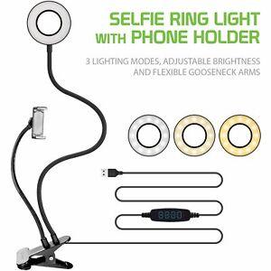 USB Selfie LED Ring Light & Cell Phone Holder Stand Live Stream/ Makeup Video