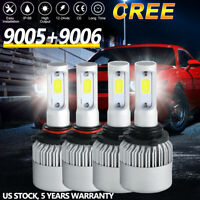 9005+9006 CREE LED Headlight 6000K 4000W 600000LM Total Combo Hi-Low Beam White