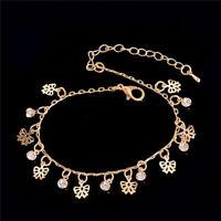 LADIES CRYSTAL BEADED BUTTERFLY ANKLET ANKLET BRACELET ROSE GOLD UK SELLER