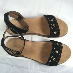 Clarks Womens Black Leather Ankle Strap Sandals US 10 M