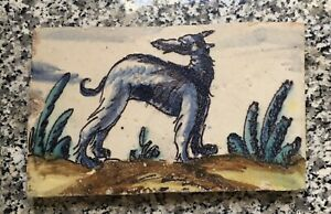 """RARE Antique Tile Blue Wolf Dog Animal 5.5x8x3/4"""" Early 1900s? Cactus"""