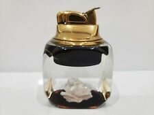 Vintage Working Mid Century Evans Lucite Table Gold Lighter White Flower 1894.45