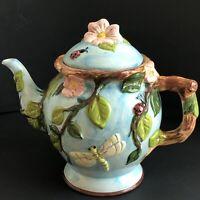 Vintage Majolica Large Turquoise Tea Pot Ladybug Dragonfly Leaves Vines Portugal