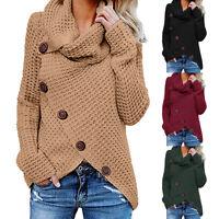 Plus Size Women Winter Warm Long Sleeve Buttons Cardigan Sweater Tops Blouse