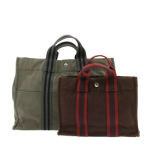 HERMES Fourre Tout PM MM Hand Bag Gray Red 2Set Cotton Auth sg148