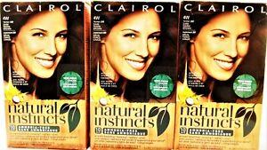 CLAIROL Natural Instincts 4W DARK WARM BROWN Semi Permanent Color Fmr 28B NEW x3