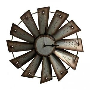 "Windmill Wall Clock Western Rustic Home Decor Country 14.5"" Farmhouse Gift New"
