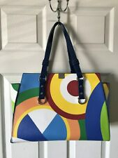 DSQUARED2 Handbag Yellow Blue Green White Artsy Large Leather Tote Bag
