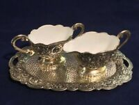 Silver Plated Sugar Bowl & Creamer Set W/Tray Floral Roses White Enamel Interior
