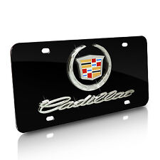 Cadillac Logo and Name on Black Metal License Plate