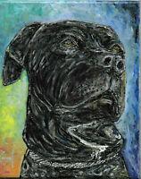 ZEKE lab Pitbull dog mix oil Painting 8x10 Custom portrait art signed Crowell $