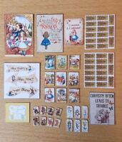 ALICE IN WONDERLAND themed KIT 1:12th scale dolls house - posters, cards tags