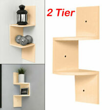 Double Tier Floating Wall Shelves Corner Shelf Storage Display Bookcase Decor