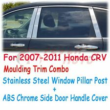 Chrome Door Handle Cover + Window Pillar Post Trim For 2007-2011 Honda CR-V FM