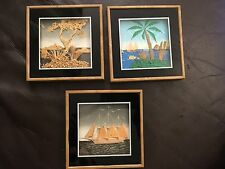 Three Small 3D Pictures of Boats and the Sea - Collage