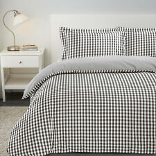 Gingham Check Reversible Yarn Dyed 100 Cotton T200 Duvet Cover Pillowcases Set Double Anthracite