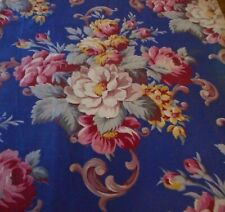 Antique Vintage Floral Roses Bouquet Cotton Fabric ~ Gorgeous Blue & Red Pink