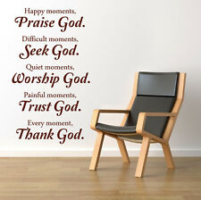 Vinyl Wall Art Bible  Quote Praise God Modern Home Bedroom Sticker Decoration