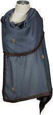 Cashmere Seide Schal grau bronze Perlen handbestickt, scarf, stole gray foulard