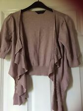 Dorothy perking short sleeve size small cardigan, 100% cotton, light brown,beige