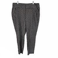 Lane Bryant Black White Floral Textured High Rise Pants Womens Plus Size 18