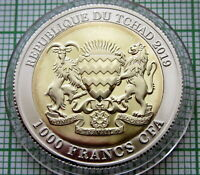 CHAD TCHAD 2019 1000 FRANCS CFA, CHINA 70th ANNIVERSARY, PANDA, BI-MET CAPSULE