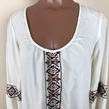 Billabong Boho Embroidery Hi/Low Bell Sleeve Blouse Women Top Size Small