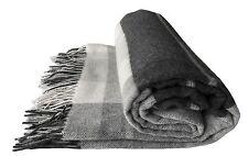Wollplaid Plaid Decke 130x180 cm Wolle grau/weiß kariert