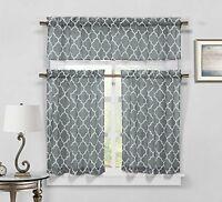 Gray 3-Piece Sheer Window Curtain Set: Trellis Design, 2 Tiers, 1 Valance