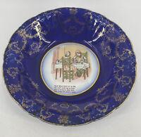 Antique Ridgways Royal Cobalt Blue Nursery Rhyme Serving Bowl Semi Porcelain Eng