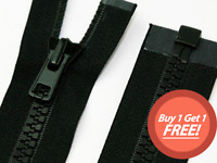 Black Chunky Plastic Teeth Zip Open End Heavy Duty Zippers Buy 1 Get 1 FREE!