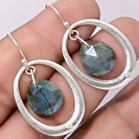 Faceted Labradorite - Madagascar 925 Sterling Silver Earrings Jewelry AE20343