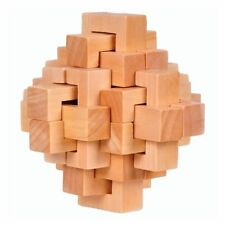 Fashion Wood Cube Puzzle Brain Teaser Toy Game Gift for Adults Kids Intelligence