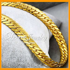 18K GOLD GF N58 DIAMOND CUT CHUNKY WHEAT CHAIN MENS WOMENS SOLID NECKLACE 55CM