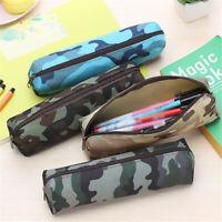 Men New Camouflage Pencil Case Makeup Bag Canvas Zipper Stationery Holder Pouch
