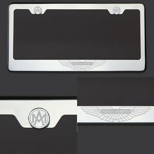 T304 Chrome Polished Aston Martin Logo Laser Etched Engraved license Plate Frame